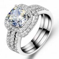 Fashion Jewelry New Design Handmade 8mm Cz 5A Zircon stone 10KT White Gold Filled 3 Engagement Wedding Band Ring Set Sz 5 11