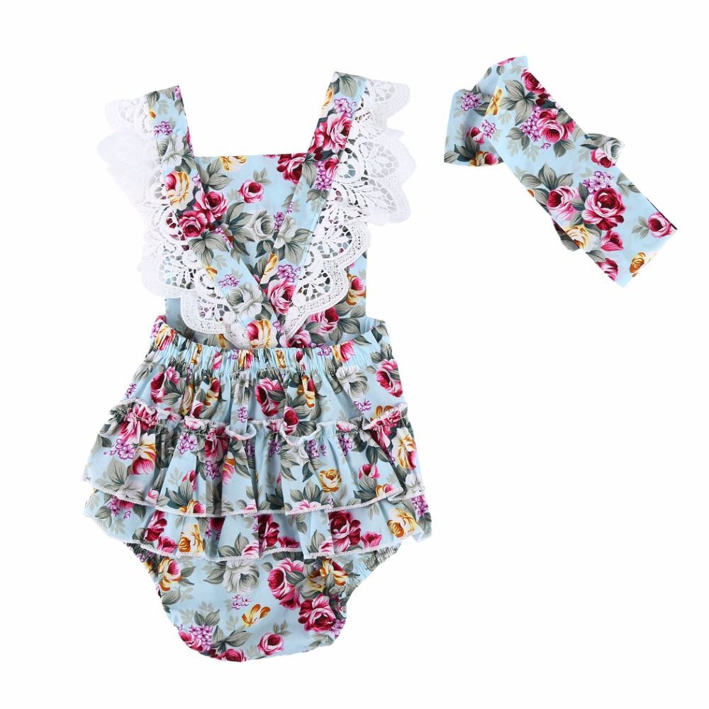 2017 New Floral Cute Baby Girls Rompers Summer Ruffled Flower Girl Costumes Set Kids Jumpsuit Cotton Romper Photo Props Headband