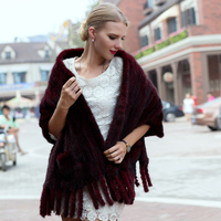 JKP new hot autumn and winter natural water mink fur knit shawl women's fashion elegant solid color woven warm tassel shawl gift