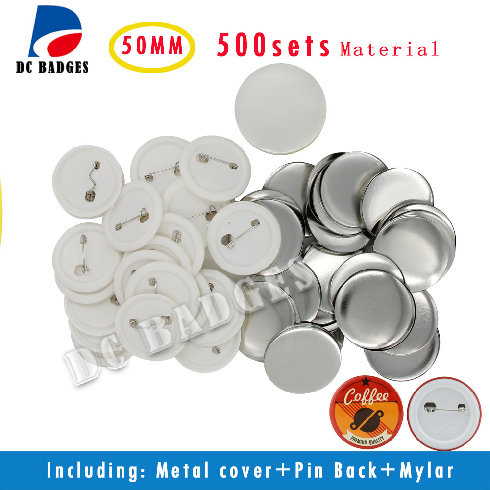 Free Shipping 2(50mm) 500sets  Plastic Pinback Badge Button Material free shipping new pro 1 1 4 32mm badge button maker machine adjustable circle cutter 500 sets pinback button supplies