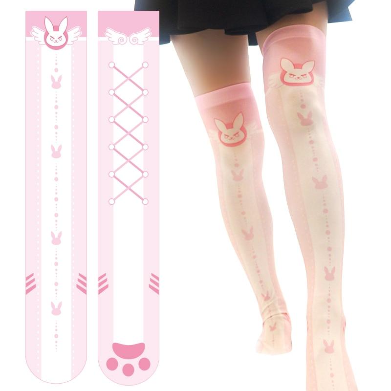 Overwatch D.va Knee-High Stockings Anime Cosplay Costume Pink Blue Kawaii Socks