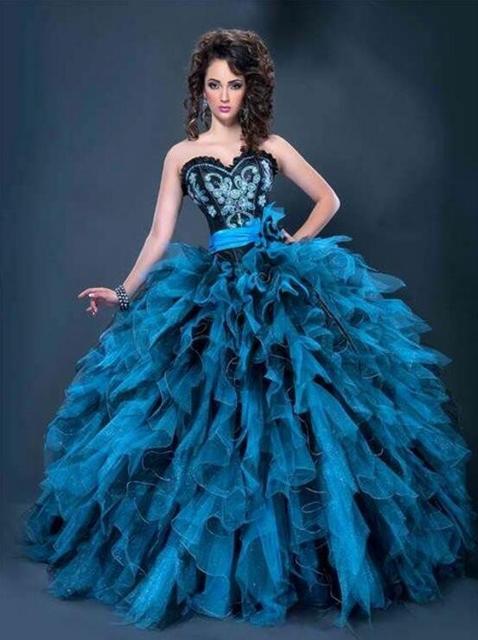 Dulce 16 Vestidos de Bola Vestidos de Quinceañera Coral Negro Y Azul ...