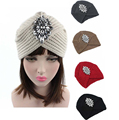 2016 New Fashion women winter warm hats Rhinestone India cap for women Turban hats women's head wrap warm hats Beanies