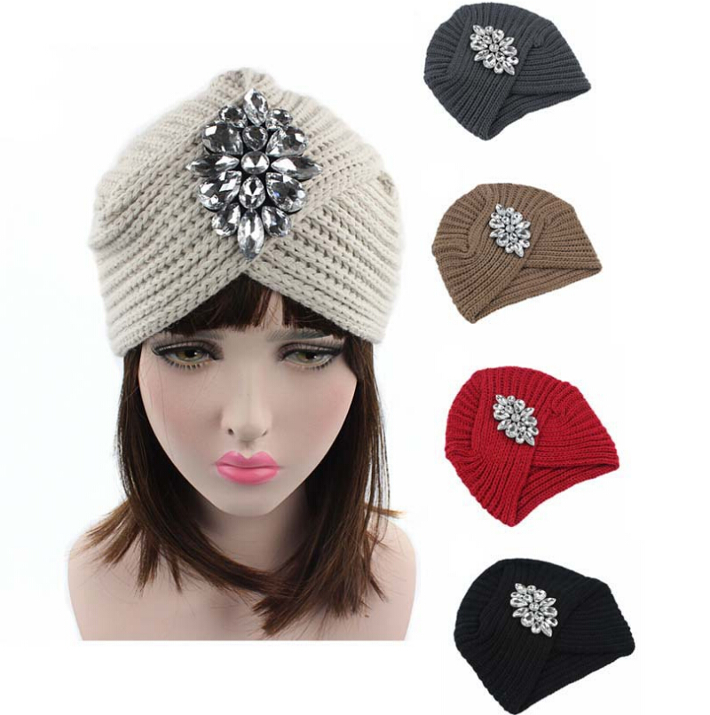 2017 New Fashion women winter warm hats Rhinestone India cap for women Turban hats women's head wrap warm hats Beanies pastoralism and agriculture pennar basin india