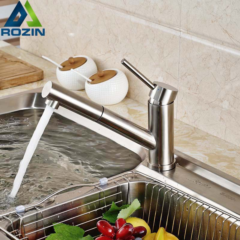 Brushed Nickel Kitchen Faucet Pull Out Spout Single Handle Bathroom Kitchen Hot and Cold Water Tap Deck Mounted Mixer Crane good quality brushed nickel kitchen faucet deck mounted hot and cold water pull out sstream sprayer spout kitchen mixer tap
