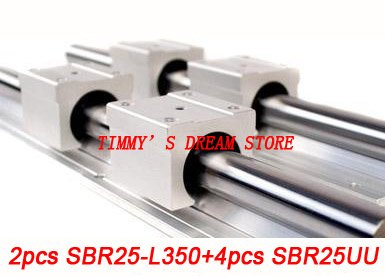 Free Shipping 2pcs SBR25-350mm Linear Bearing Rails + 4pcs SBR25UU Bearing Locks CNC X Y Z free shipping 2pcs sbr16 700mm linear bearing rails 4pcs sbr16uu bearing locks cnc x y z