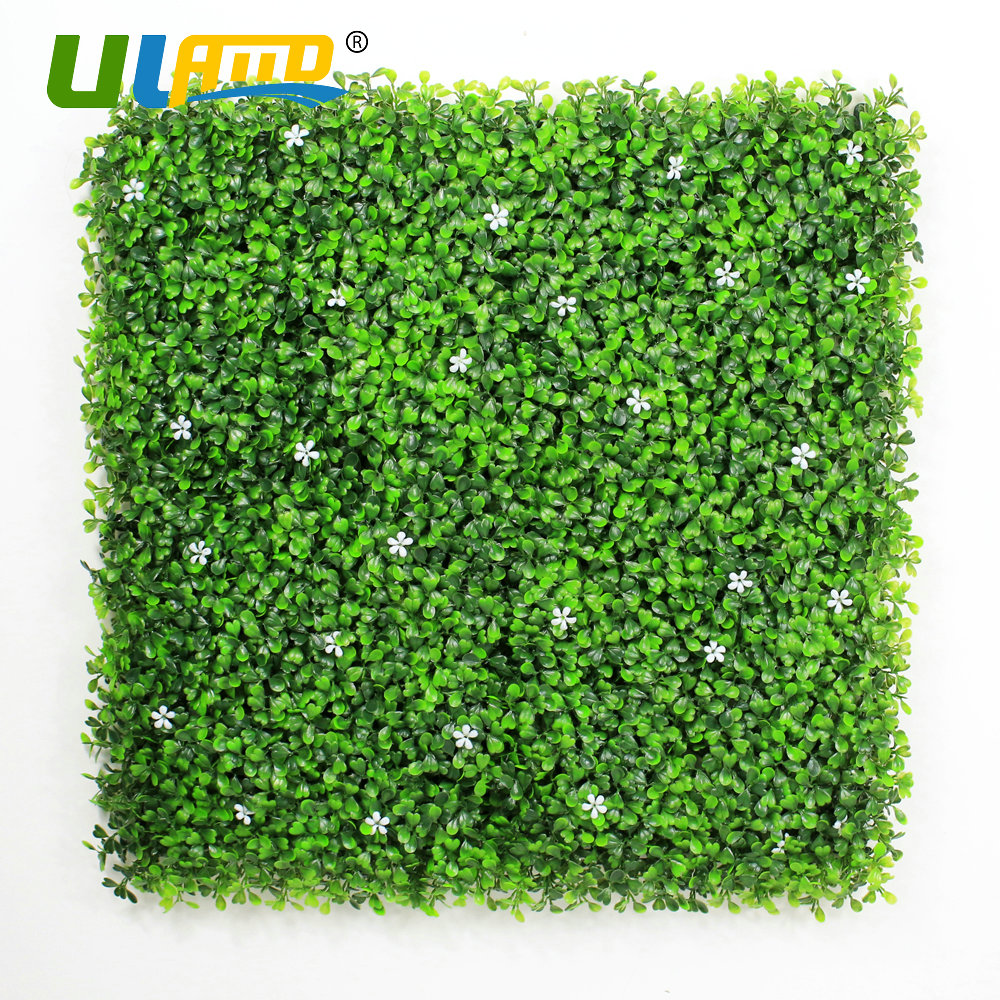 ULAND Artificial Boxwood Hedges Faux Plants Leaves White Flower Panels Synthetic Balcony Fence Home Wall Garden Decor 50x50cm/pc uland 6pcs 50cm 50cm artificial photinia hedge bicolor boxwood mat g0602a016 st3