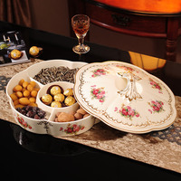 European Ceramic grid cover with dry fruit for wedding candy snacks are the living room big fruit plate