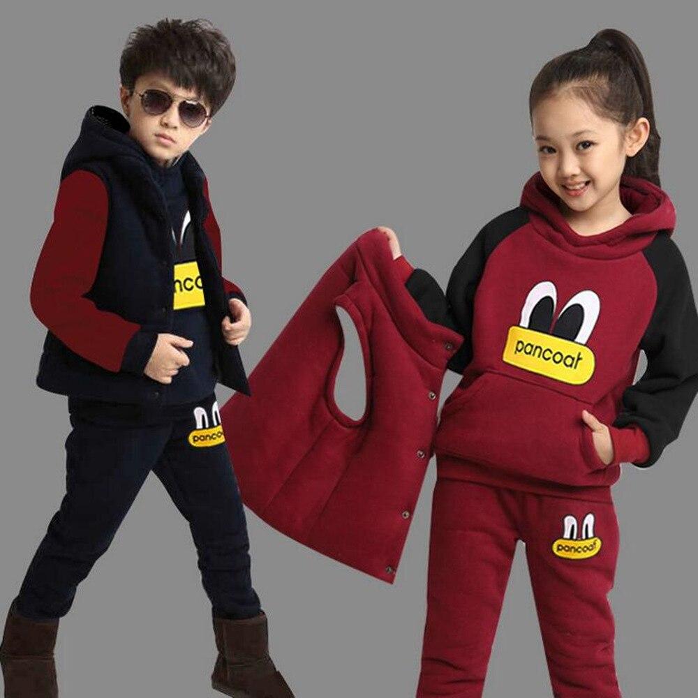 5ac83dfae Conjunto de ropa de invierno para niños y niñas, ropa deportiva para niños,  sudaderas con capucha de lana gruesa + Pantalones + chaleco 3 piezas  sudaderas ...