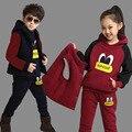 Novo Menino Meninas Inverno Conjunto Esportes Criança de Lã Grossa Hoodies + Calça + Colete 3 pcs Define Conjuntos de Roupas infantis Camisolas menino Ternos Casuais
