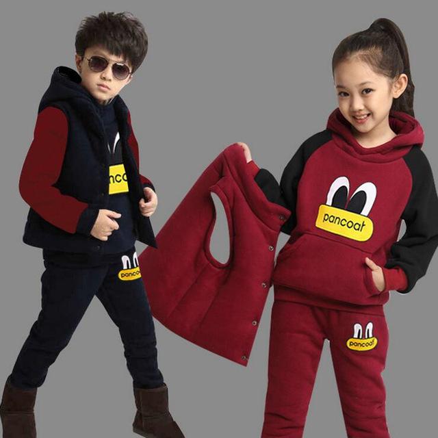 Nuevo Niño Niñas Invierno Conjunto Niño Deportes Grueso Fleece Sudaderas Con Capucha + Pantalones + Chaleco 3 unids Conjuntos Ropa de niños Sudaderas Boy Trajes Casuales