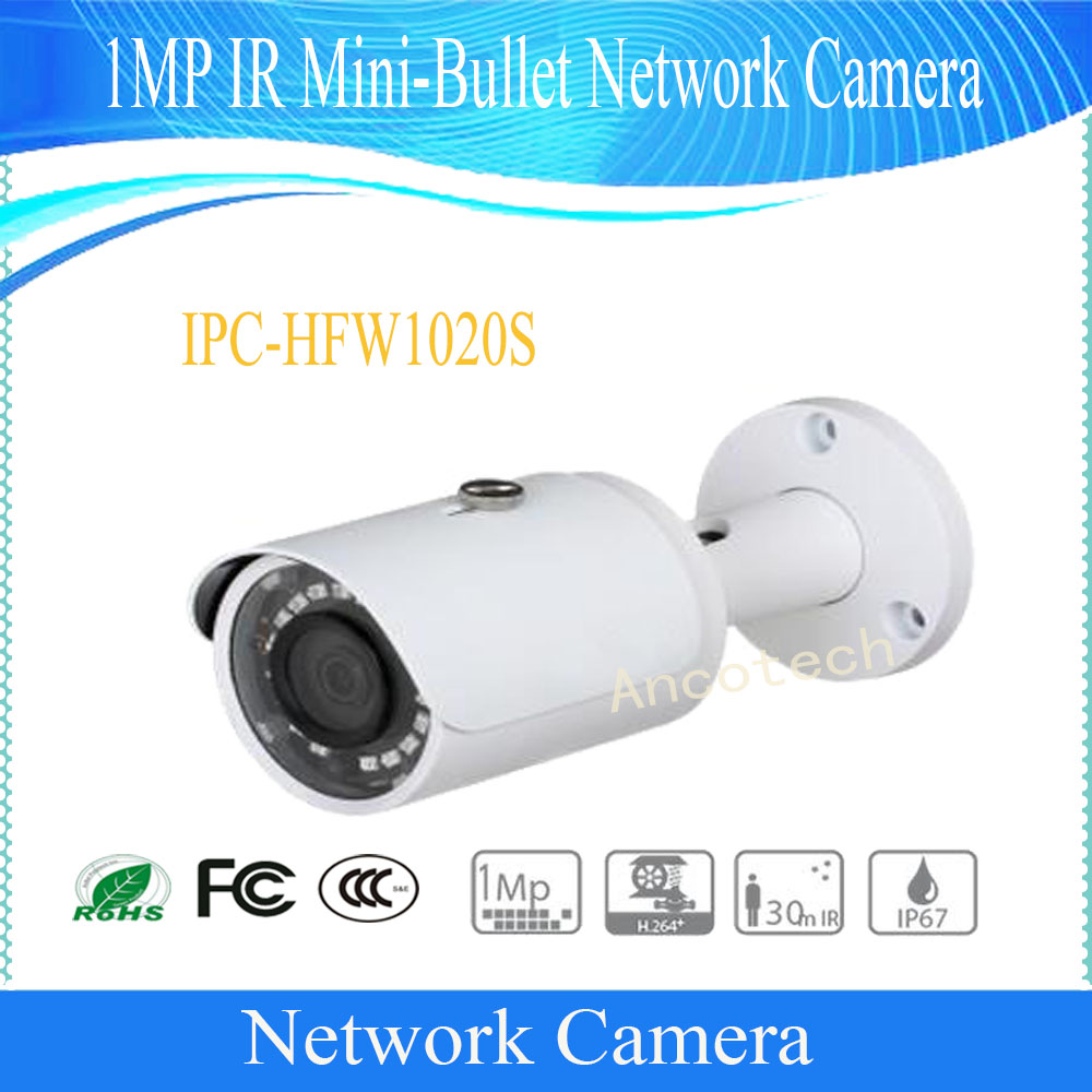Free Shipping DAHUA Security IP Camera 1MP IR Mini-Bullet Network Camera IP67 With PoE Without Logo IPC-HFW1020S 15pcs lot free dhl shipping dahua 3 0mp 2 7mm 12mm motorized network ir bullet camera security ir water proof ipc hfw2300r z