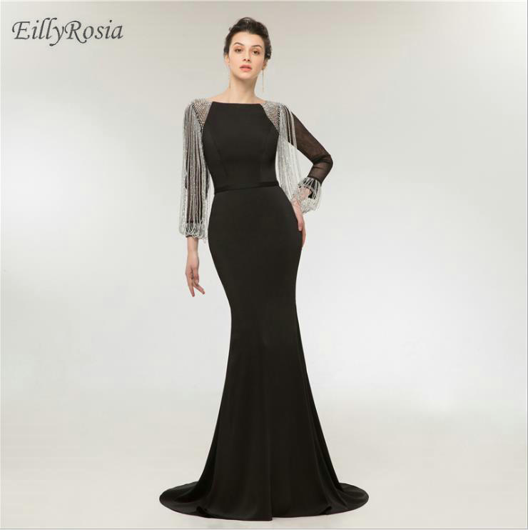 Vestiti Cerimonia Donna 2018.Black Long Sleeve Evening Gown Dress Party Tassel Beading Elegant