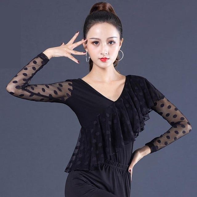 สีดำ Ballroom V Neck ruffle เต้นรำละตินสำหรับผู้หญิง/หญิง/หญิง dancerwears, ผ้าพันคอยาวสวมใส่ YR0906