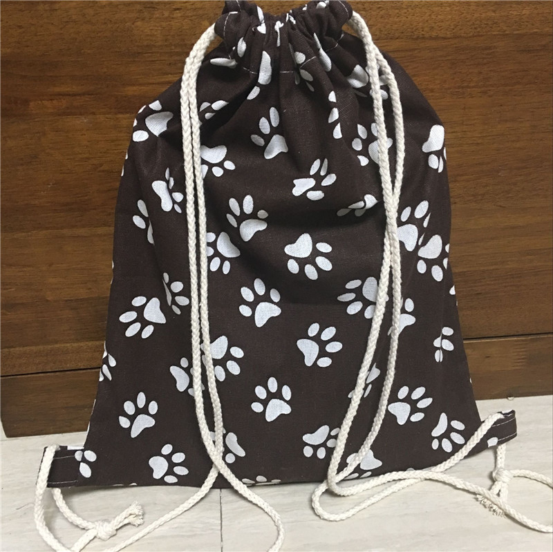 YILE Cotton Linen Drawstring Travel Backpack Book Shoes Bag Paws Brown 519c