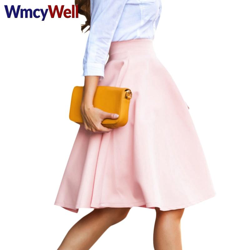 WmcyWell Vintage Elegant Sexy Pleated Skirt Women Stretch High Waist Skater Flared Pleated Big Swing Mid-Calf Skirt