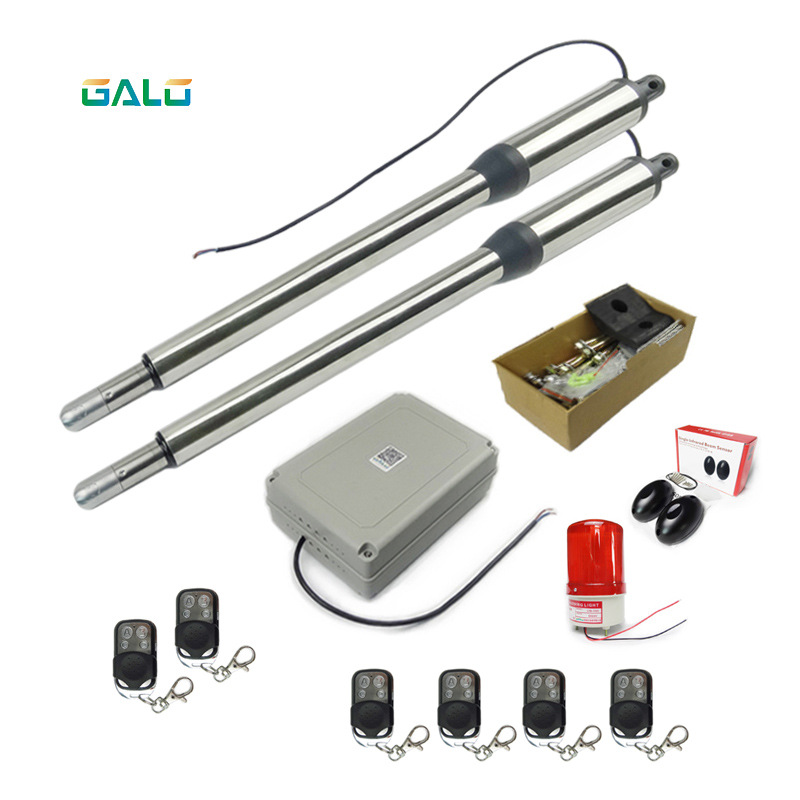 powerful Double arms swing gate opener door motor with more remote control kit supply DIY lover galo 300 kg double arms swing gate opener door motor kit with 1 pair of photocells 1 alarm light