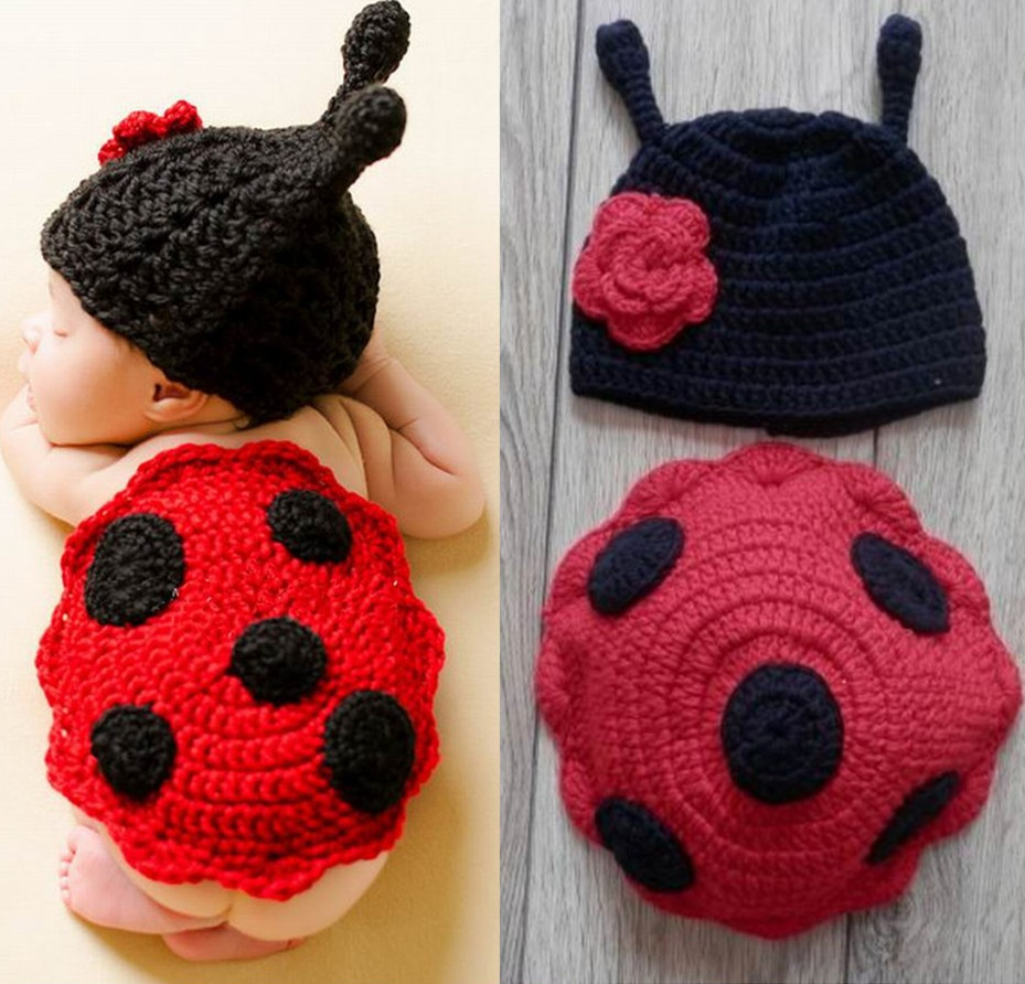 Crochet ladybug baby hat pattern manet for hand crochet ladybug set baby photography props newborn bankloansurffo Choice Image