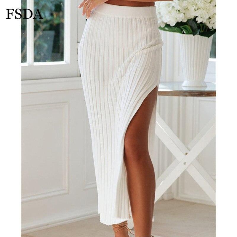 FSDA Side Slit Bodycon Skirt Sexy Cotton Casual Side Sexy Long White Office Women Spring Split Elegant Summer Midi Skirts