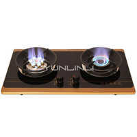 Household Double-burner Gas Stove Tempered Glass Gas Cooker Embedded/Table Type Gas Furnace G630S