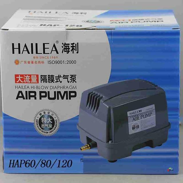 US $100 0 |90W 120L/min Hailea HAP 120 Hiblow Diaphragm Air Pump for  Aquarium Fish Septic Tank Air Blower Hydroponics Pond Air Compressor-in Air  Pumps