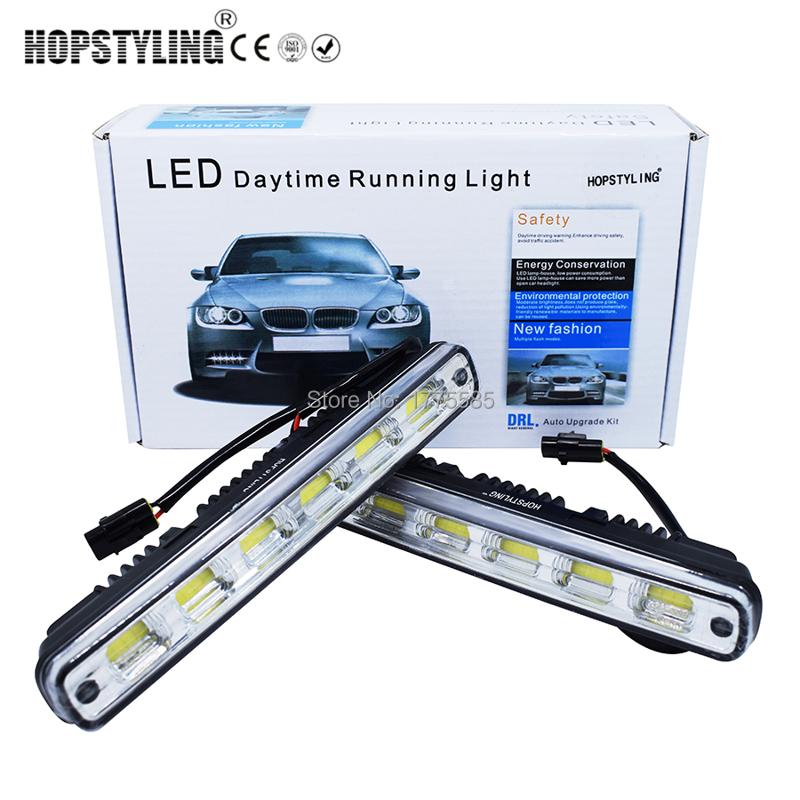 HOPSTYLING 2pcs White Universal DC <font><b>12V</b></font>/24V COB LED Daytime Running Light Super Car DRL <font><b>Lamp</b></font> Installation Bracket Vehicles 12W <font><b>E4</b></font> image