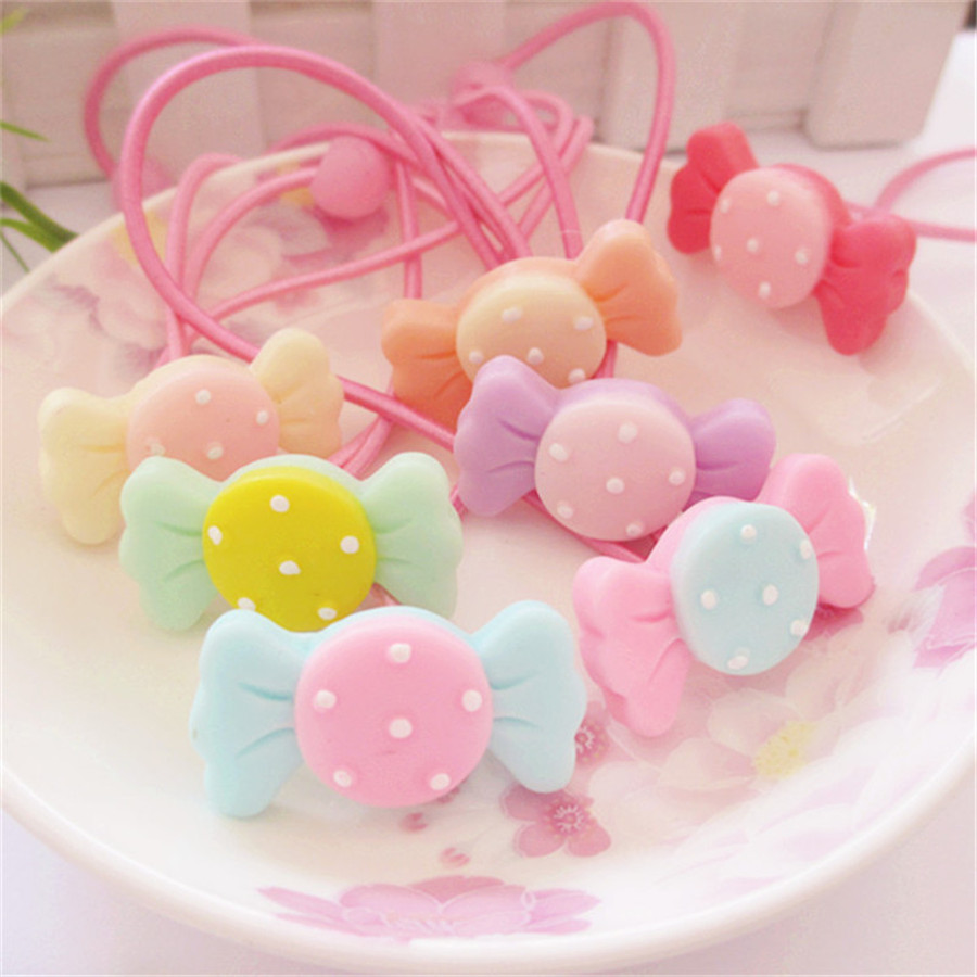 Fashion Korean Headband Candy Girls Elastic Hair Bands Resin Ropes Children Haar Accessoires Hairband Hair Clip Gift 6 Pcs 8 pieces children hair clip headwear cartoon headband korea girl iron head band women child hairpin elastic accessories haar pin