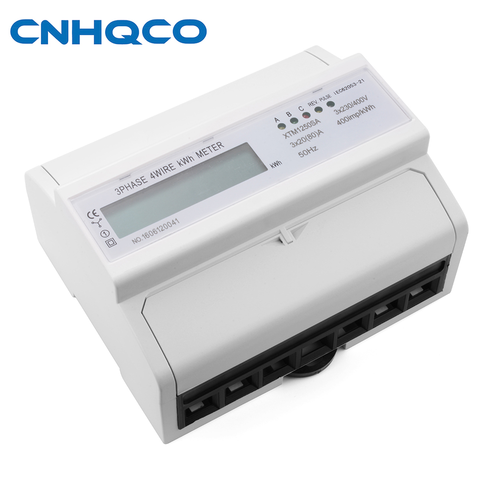CNHQCO Three phase Din rail KWH Watt hour din-rail energy meter Current Voltage Power Meter Watt metter Ammeter Voltmeter AE104 three phase din rail digital multifuntion meter with rs485 communication programmable kwh meter