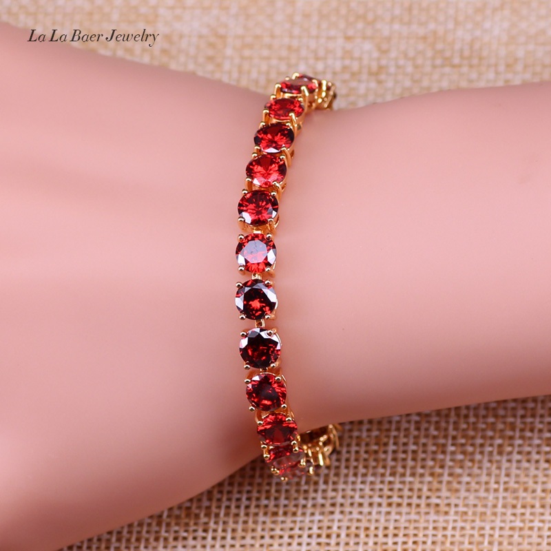 L&B A Beautiful Wedding & Party Present Gold Color Bracelet Red  Created Garnet For Women Fashion Jewelry  bracelet