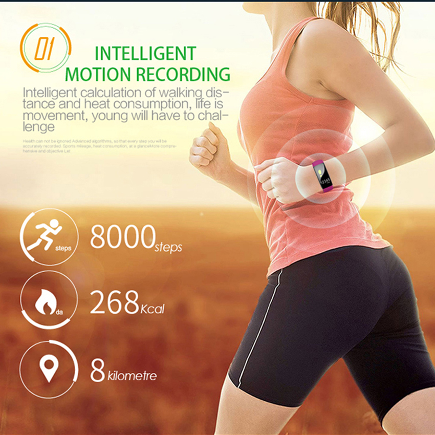 OGEDA Women Smart Watch Sport Intelligent Watch Heart Rate Blood Pressure Monitor Wristwatch Fiteness Tracker IOS Android M99