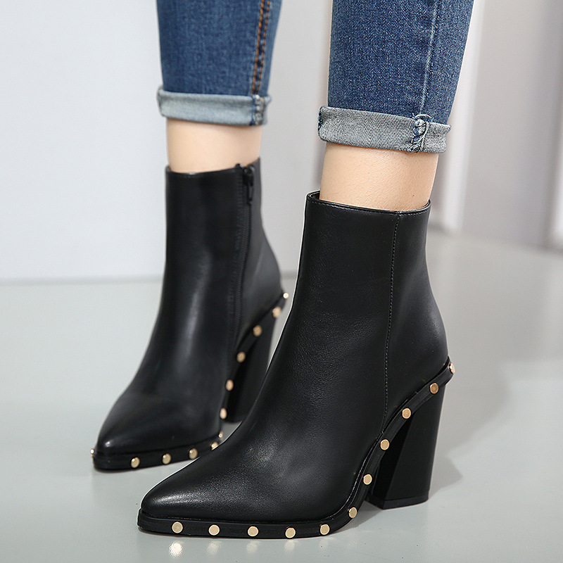Teahoo Women Studded Ankle Boots Pointed Toe Square Heel ...