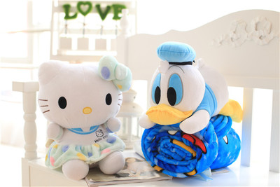 Plush roll blanket 1pc 160cm cartoon Donald Duck hello kitty soft flannel office rest toy creative gift for kids baby plush 1pc 40cm watermelon strawberry bear warm rest office cushion blanket high quality stuffed toy romantic gift for baby