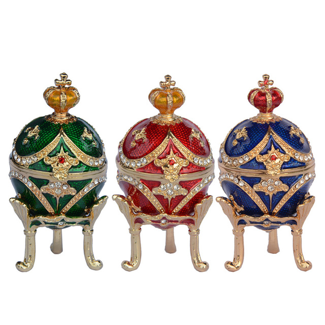c430ce364fe Free shipping Mini crown egg jewelry box trinket boxes faberge eggs vintage  home decor Christmas birthday gifts decoration