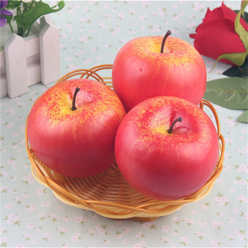 Julie Wang Artificial Fruits 3 pcs/lot Plastic Foam Red Apples Crafts Ornament Wedding Home Decoration Accessories YW-223