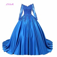 2019 Royal Blue Quinceanera Dresses Boat Neck Appliques Junior Beaded Sweet Long Prom Party Gowns Elegant Long Pageant Dress