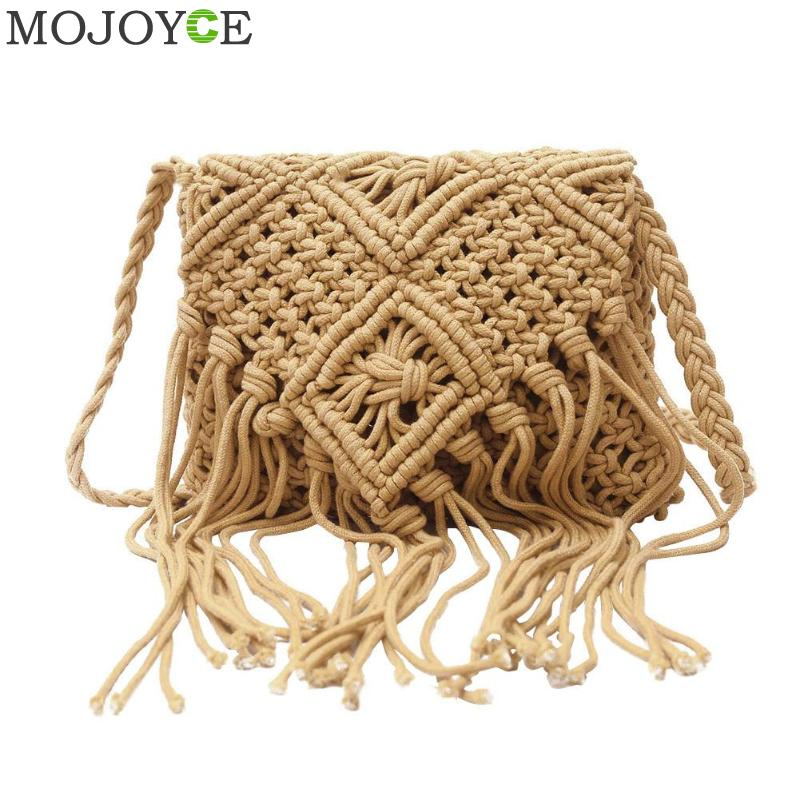 2018 Fashion Light Brown Handmade Cotton Rope Hollow Out Woven Tassel Bag Trend Women's Handbag Straw Shoulder Bag For Ladies цена 2017
