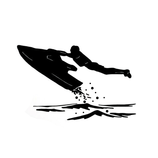 14.6CM*9.2CM Interesting Jet Extreme Ski At Sea Silhouette