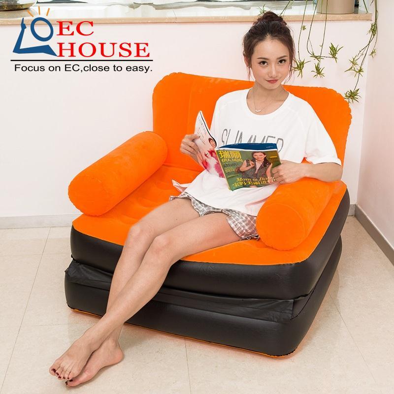 The new single flocking multi-function folding inflatable mattress cushion balcony sofa leisure cr