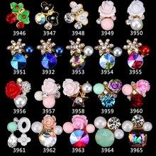 3D อัญมณีหินเล็บเครื่องประดับ 3D ดอกไม้ 100Pcs เล็บ Charms คริสตัลตกแต่งเล็บ Glitter Rhinestones 3946 3965