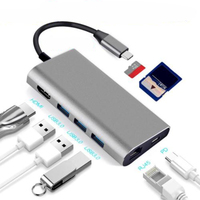 8 in 1 USB 3.0 Type C HUB to Ethernet + 4K Video HDMI PD RJ45 + Charging Port Adapter + SD / Micro SD Slot for iPhone HUAWEI