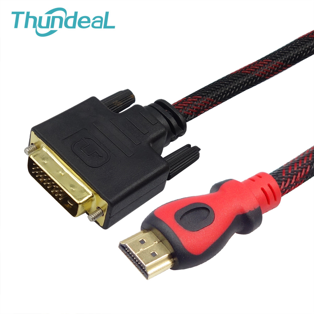 thundeal hdmi to dvi cable 3m 5m 10m braid gold dvi d 24 1 pin adapter hdmi cable 1080p for. Black Bedroom Furniture Sets. Home Design Ideas