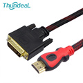 ThundeaL HDMI to DVI Cable 1.5m 3m 5m 10m Braid Gold DVI-D 24+1 Pin Adapter HDMI Cable 1080P for LCD DVD HDTV XBOX Projector PS3