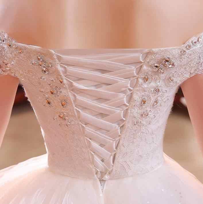 VENSANAC 2018 קריסטל סירת צוואר נצנצים כדור שמלת חתונת שמלות תחרה רקמה קצר שרוול ללא משענת כלה שמלה
