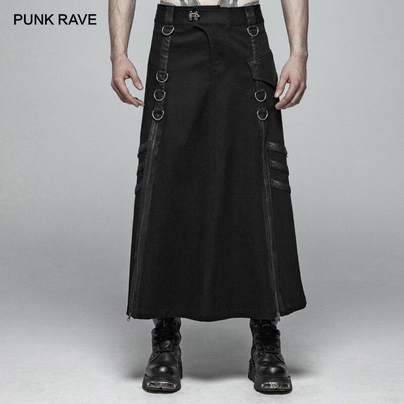 Панк рейв для мужчин Панк Регулируемый Черный Длинные половина юбка брюки для девочек Готический спектакль косплэй самурая личность
