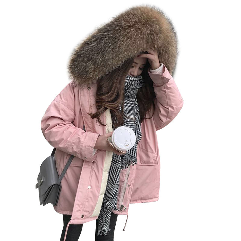 Hooded Real Raccoon Fur Collar Women Winter Jacket Coat Thicken Long   Parka   Chaqueta Mujer Plus Size Women's Down Jacket C4924