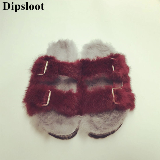 Brand Dipsloot Blue Rabbit Fur Women Slippers Gladiator Flat Sandals Lady Summer Flats Casual Shoes Woman Slides Slingback Shoes flat fur women slippers 2017 fashion leisure open toe women indoor slippers fur high quality soft plush lady furry slippers