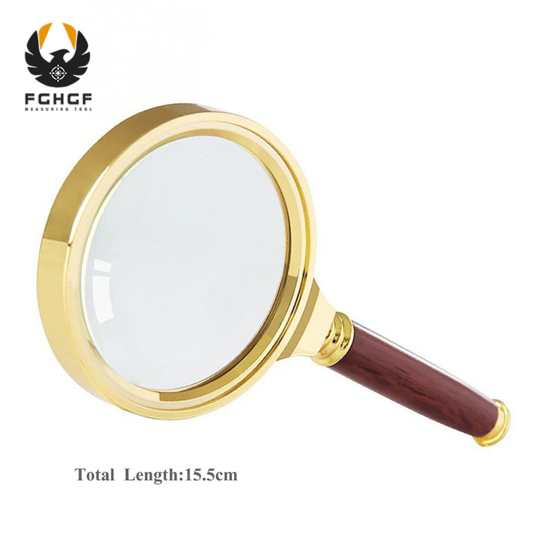 FGHGF 70mm 12X Gold Wooden Handle Handheld Magnifier Magnifying Tool Glass Lens Loupe Reading Jewelry автомобильные колонки pioneer ts g1320f