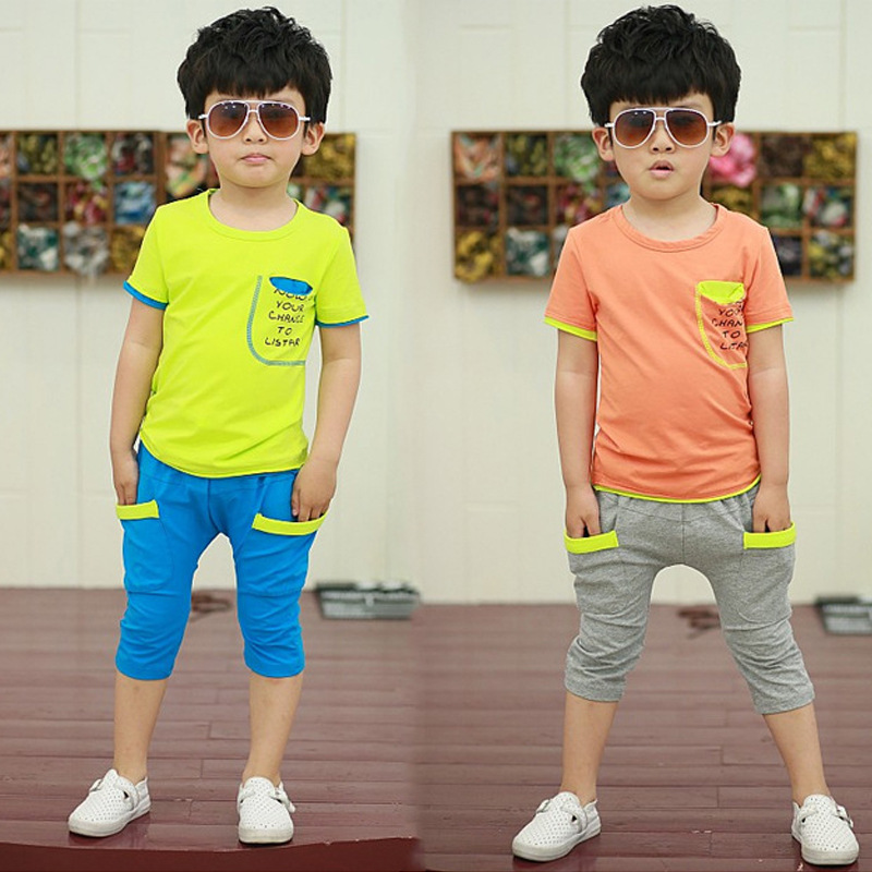Summer Baby Boy Clothing 2018 New Boys Tracksuit Kids Clothes Short Sleeves T-Shirt + Shorts Baby Sport Suit 2 3 4 5 6 7 8 Years