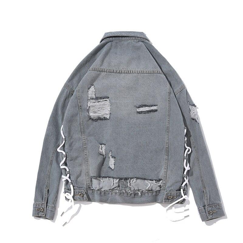 Hommes vestes haute rue trou incrustation Design solide couleur rétro Denim veste hommes Hip Hop veste vêtements cravate-wrap reliure bande