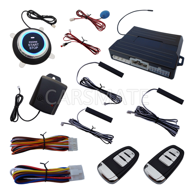 New Smart Car Alarm System Passive Keyless Entry Auto Lock & Unlock Ignition Button Start Rolling Code With Shock Sensor